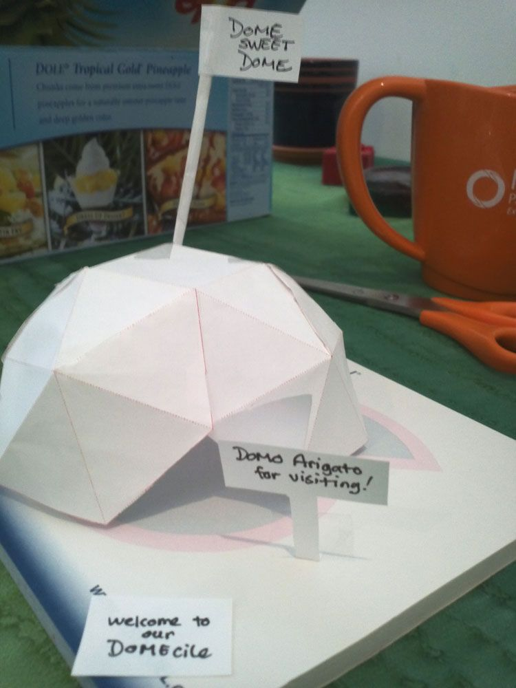 Scale Models of Nearodesic Polyhedron Hexayurt